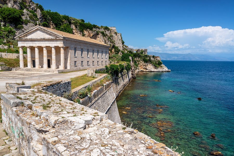 View of Sain George Church in the Old Fortress on Corfu, Greece